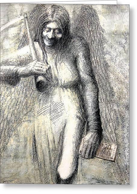 Money Killer Greeting Card by Piotr Betlej