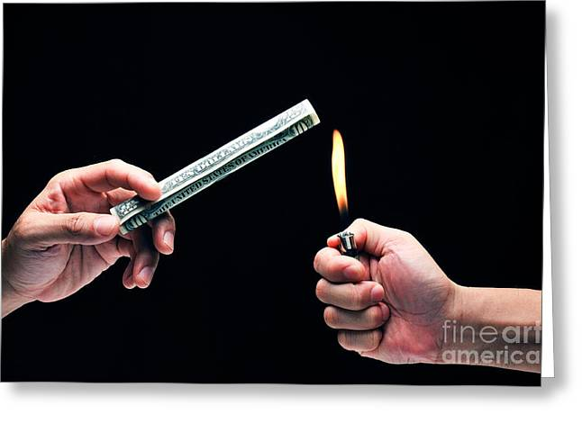 Money To Burn Greeting Card by William Voon