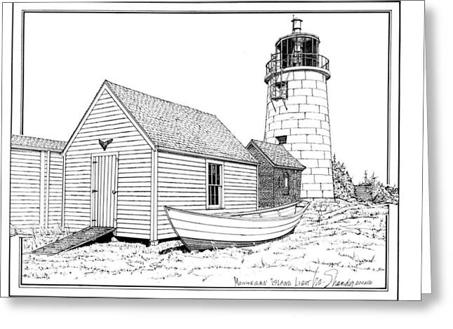 Monhegan Island Light Greeting Card by Ira Shander