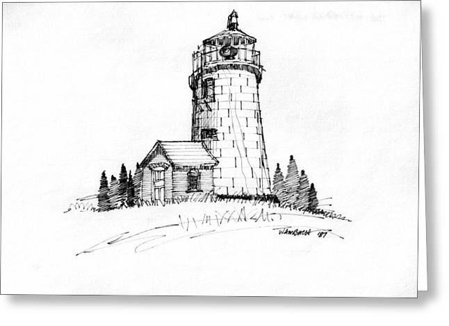 Monhegan Lighthouse 1987 Greeting Card by Richard Wambach