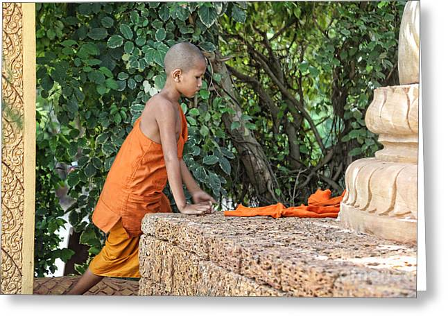 Monk Cambodia Greeting Card by Chuck Kuhn