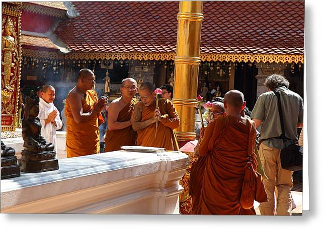 Monk Ceremony - Wat Phrathat Doi Suthep - Chiang Mai Thailand - 01131 Greeting Card by DC Photographer