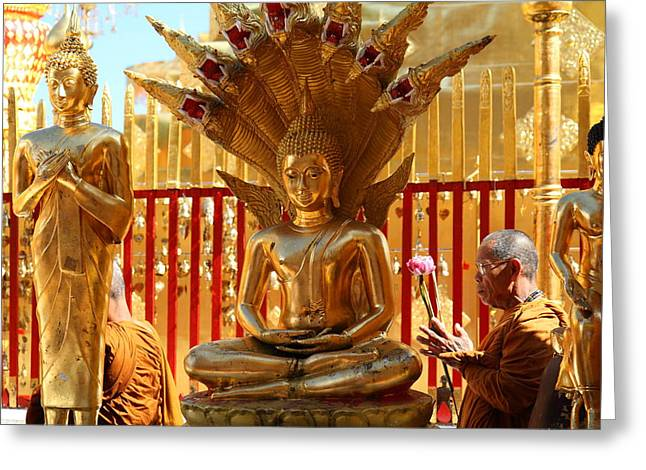 Monk Ceremony - Wat Phrathat Doi Suthep - Chiang Mai Thailand - 011310 Greeting Card by DC Photographer