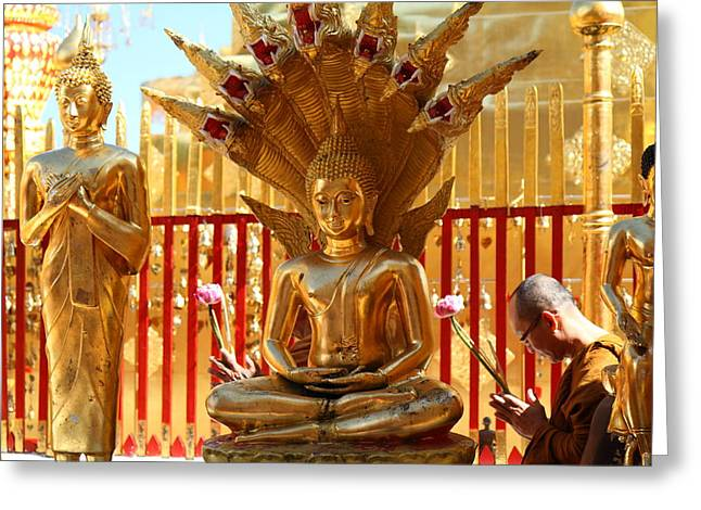 Monk Ceremony - Wat Phrathat Doi Suthep - Chiang Mai Thailand - 011311 Greeting Card by DC Photographer