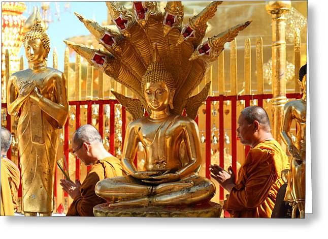 Monk Ceremony - Wat Phrathat Doi Suthep - Chiang Mai Thailand - 011312 Greeting Card by DC Photographer