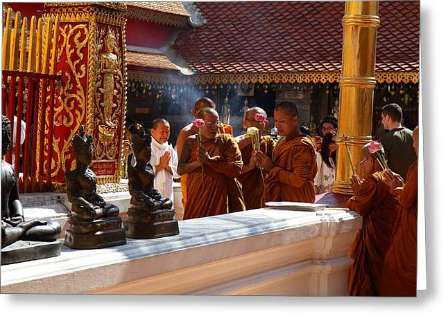 Monk Ceremony - Wat Phrathat Doi Suthep - Chiang Mai Thailand - 01132 Greeting Card by DC Photographer