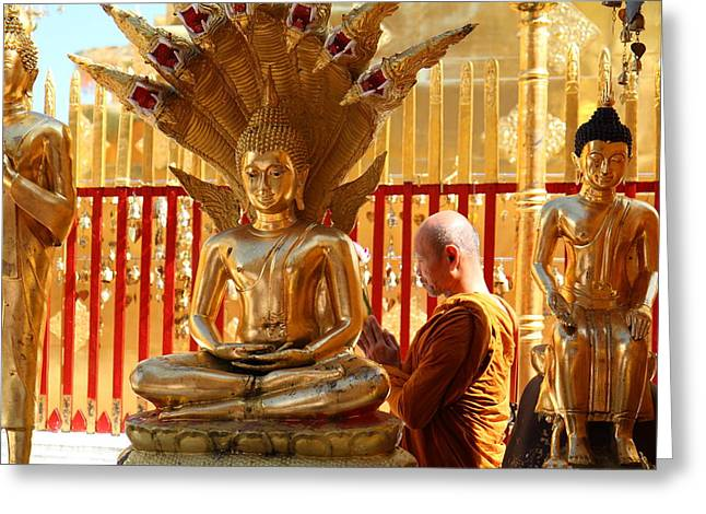 Monk Ceremony - Wat Phrathat Doi Suthep - Chiang Mai Thailand - 01137 Greeting Card by DC Photographer