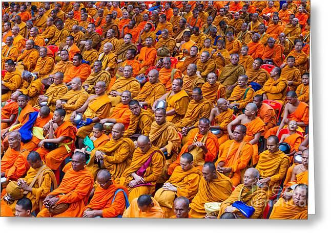 Monk Mass Alms Giving In Bangkok Greeting Card