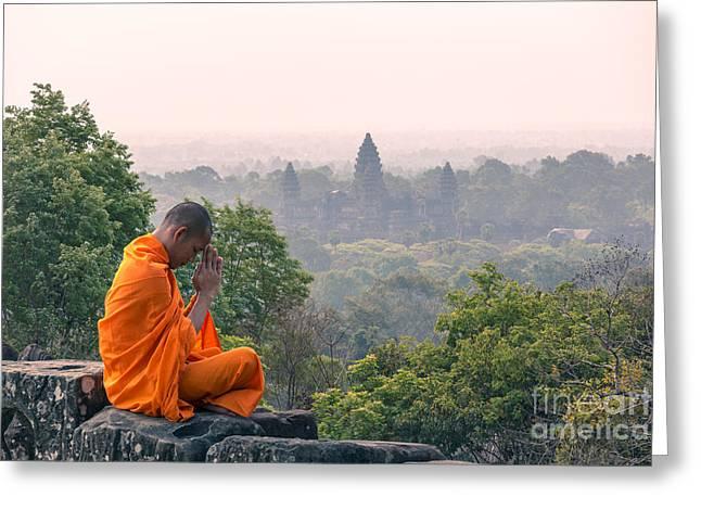 Monk Meditating At Angkor Wat Temple- Cambodia Greeting Card