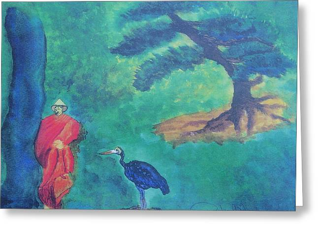 Monk With Bonzai Tree Greeting Card by Debbie Nester