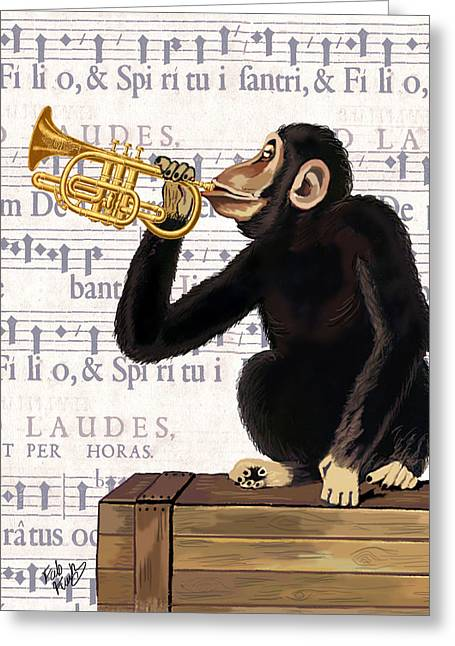 Monkey And Trumpet Greeting Card by Kelly McLaughlan
