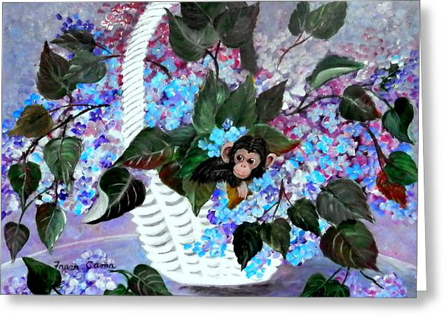 Greeting Card featuring the painting Monkey Busines by Fram Cama