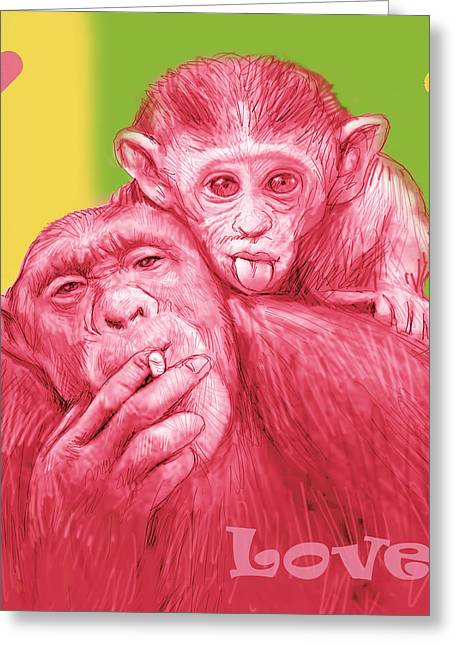 Monkey Love With Mum - Stylised Drawing Art Poster Greeting Card by Kim Wang