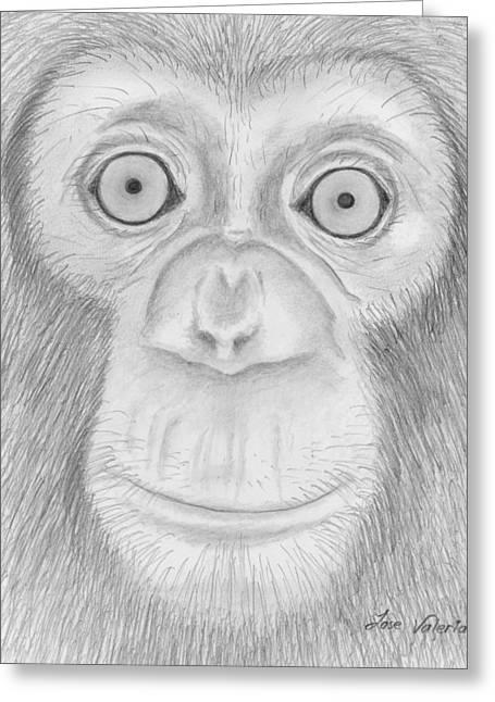 Monkey Portrait Greeting Card by M Valeriano