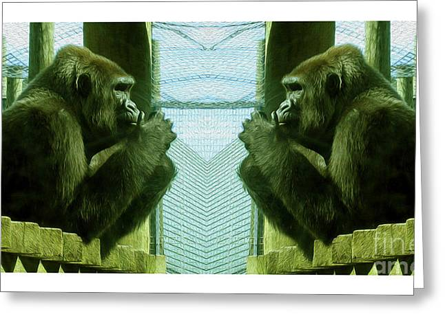 Monkey See Monkey Do Greeting Card by Nina Silver