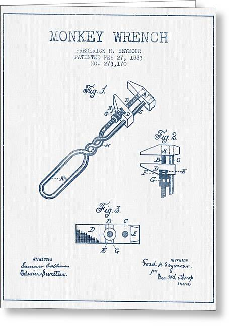 Monkey Wrench Patent Drawing From 1883- Blue Ink Greeting Card by Aged Pixel