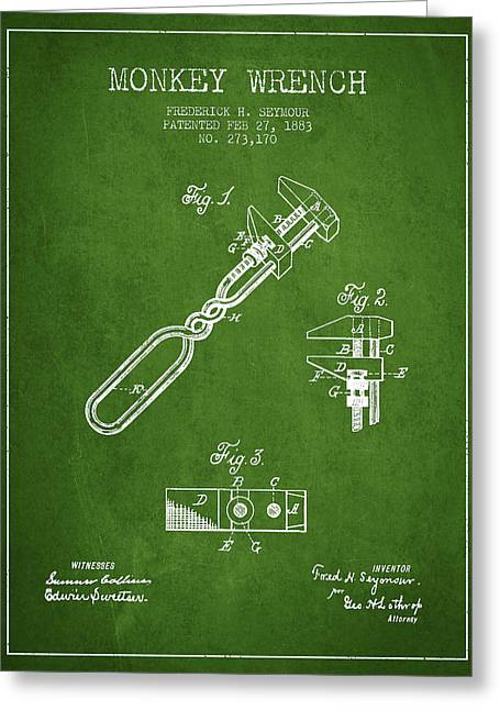 Monkey Wrench Patent Drawing From 1883 - Green Greeting Card by Aged Pixel