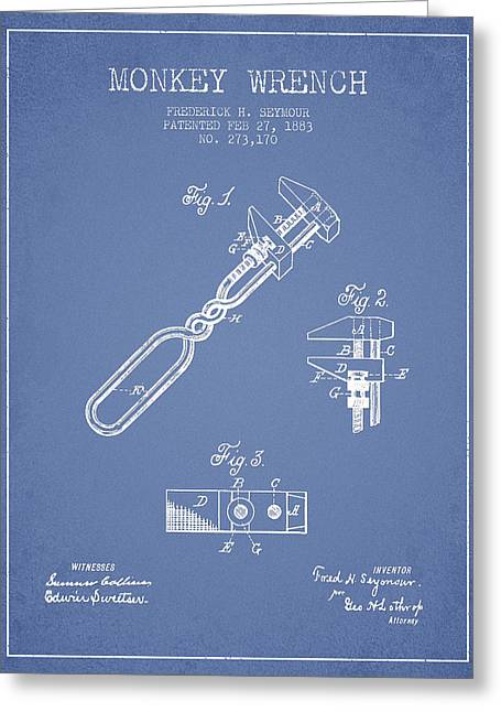 Monkey Wrench Patent Drawing From 1883 - Light Blue Greeting Card by Aged Pixel