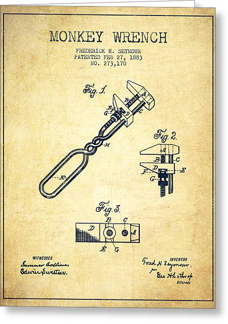 Monkey Wrench Patent Drawing From 1883 - Vintage Greeting Card by Aged Pixel