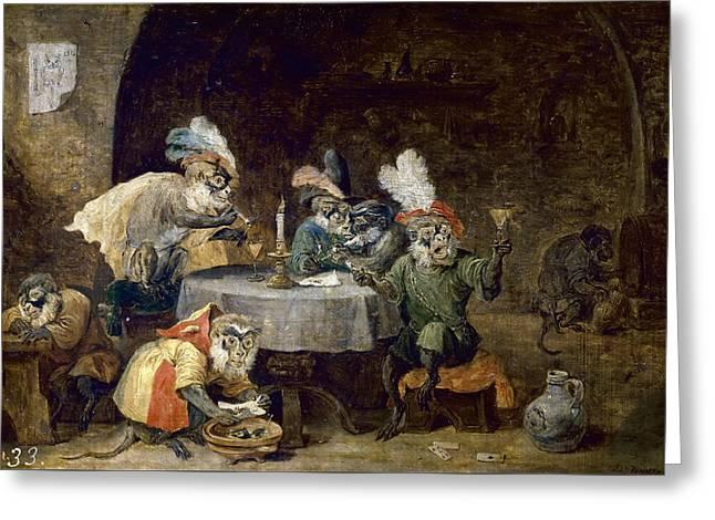 Monkeys smoking and drinking painting by david teniers the younger - Model kamer jongen jaar ...