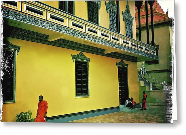 Monks At Ounalom Pagoda In Cambodia Greeting Card