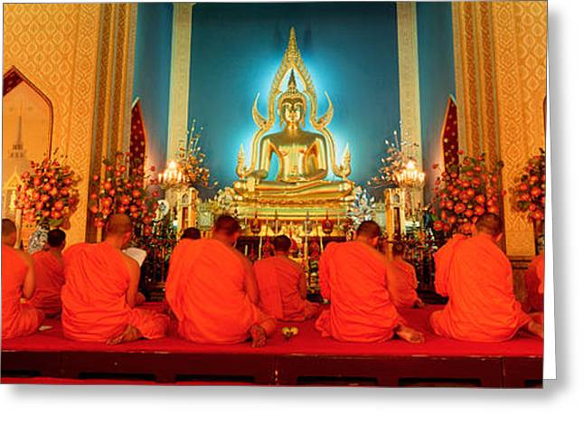 Monks, Benchamapophit Wat, Bangkok Greeting Card by Panoramic Images