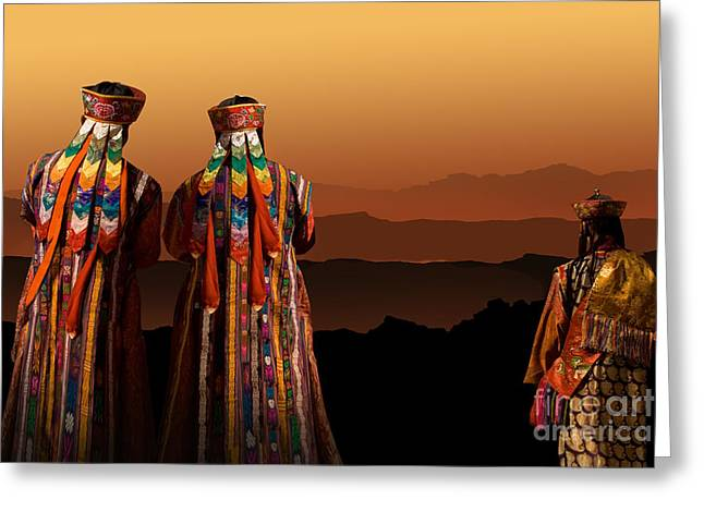 Monks From Bhutan Greeting Card