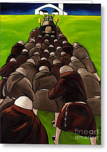Monks Funeral Greeting Card by William Cain