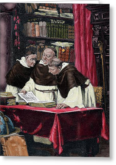 Monks Reading A Copy Of The Gutenberg Greeting Card