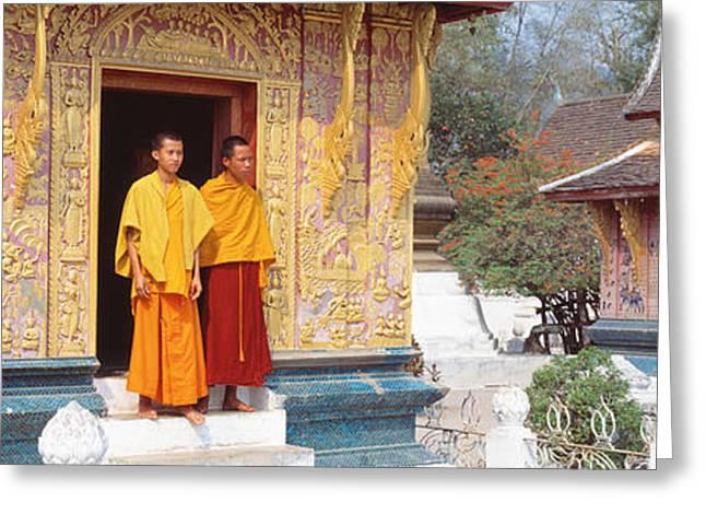 Monks Wat Xien Thong Luang Prabang Laos Greeting Card