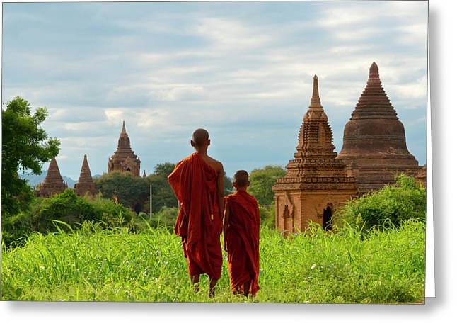 Monks With Ancient Temples And Pagodas Greeting Card