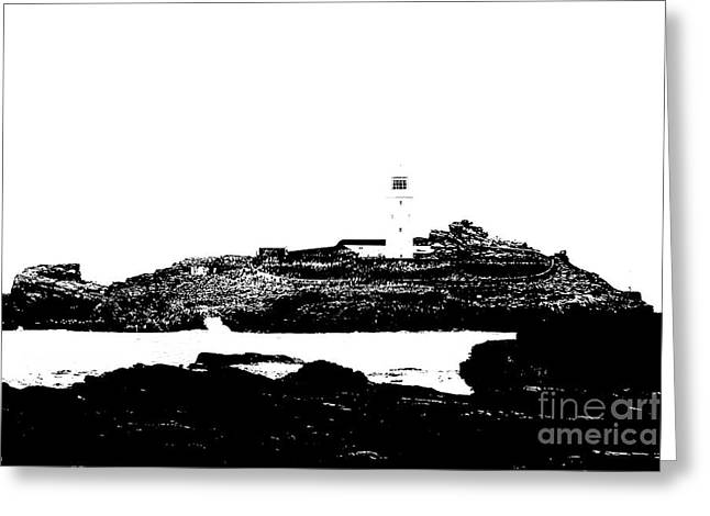 Monochromatic Godrevy Island And Lighthouse Greeting Card by Terri Waters
