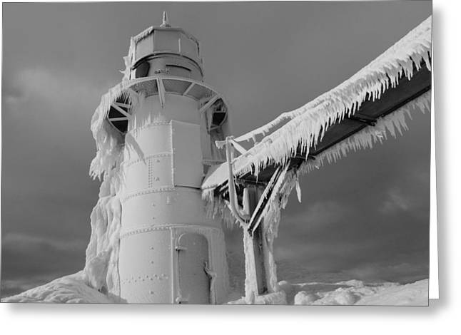 Monochrome Frozen Lighthouse Grand Haven Michigan Greeting Card by Dan Sproul