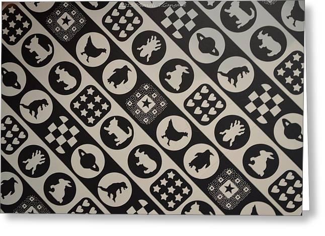 Monochrome Mosaic Greeting Card by Sonali Gangane