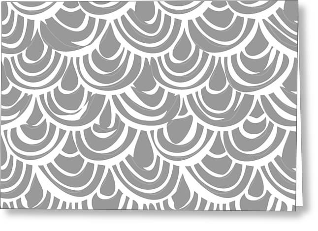 Monochrome Scallop Scales Greeting Card