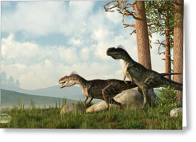 Monolophosaurs On The Hunt Greeting Card