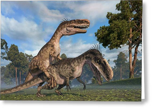 Monolophosaurus Dinosaurs Mating Greeting Card