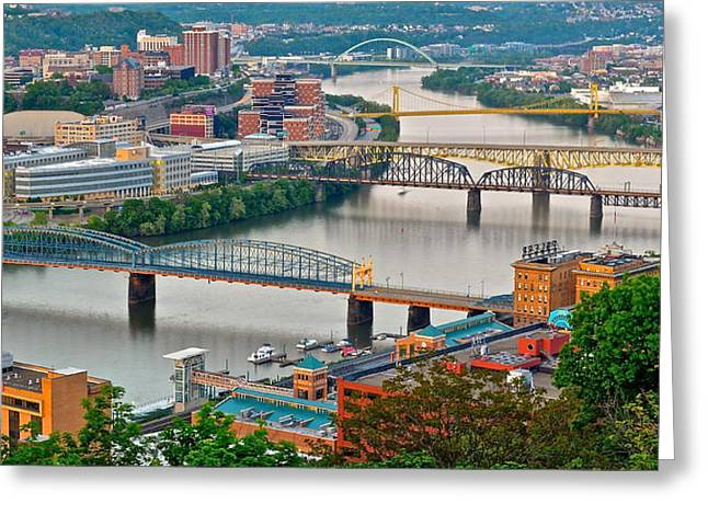 Monongahela Bridges Greeting Card by Frozen in Time Fine Art Photography