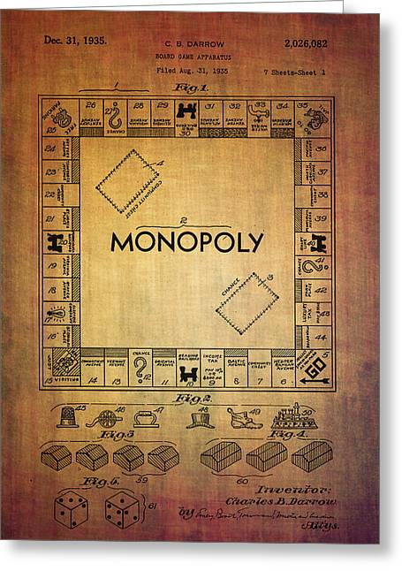 Monopoly Board Game Apparatus From 1935  Greeting Card