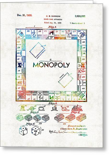 Monopoly Game Board Vintage Patent Art - Sharon Cummings Greeting Card by Sharon Cummings