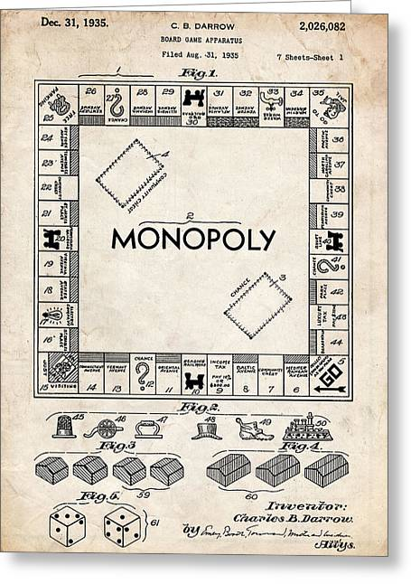 Monopoly Game Patent Art Greeting Card by Stephen Chambers