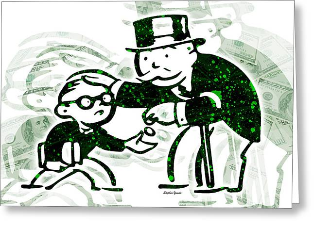 Monopoly Man - School Tax Greeting Card by Stephen Younts