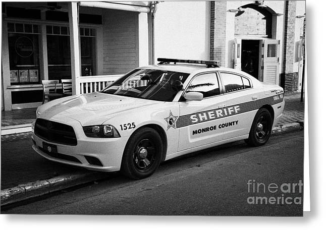 Monroe County Sheriff Patrol Squad Car Key West Florida Usa Greeting Card