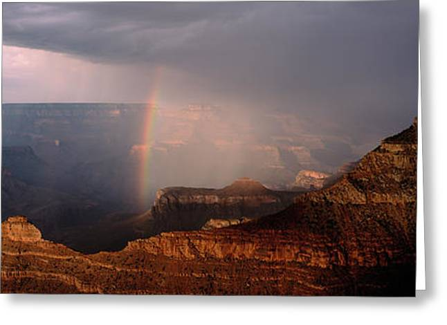 Monsoon Storm With Rainbow Passing Greeting Card by Panoramic Images