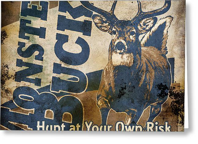 Monster Buck Deer Sign Greeting Card
