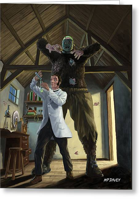 Monster In Victorian Science Laboratory Greeting Card