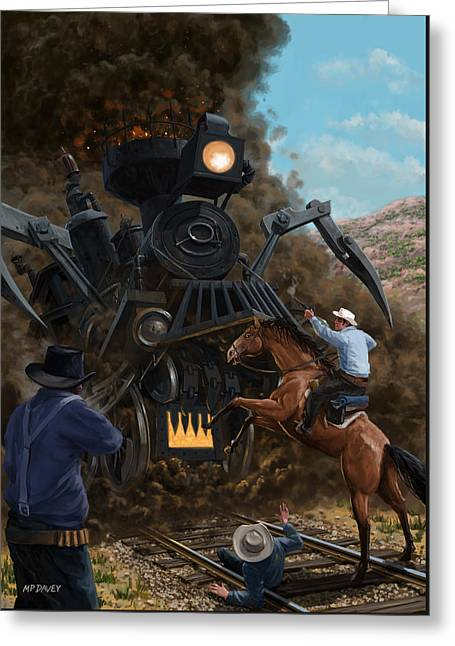 Monster Train Attacking Cowboys Greeting Card by Martin Davey