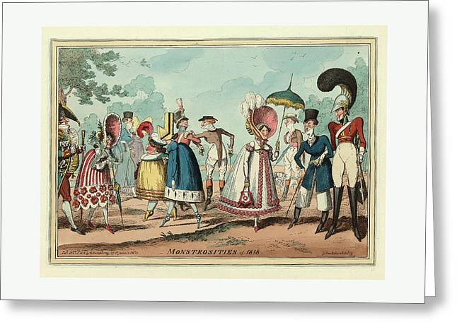 Monstrosities Of 1818, Engraving 1818, Unusual Clothing Greeting Card