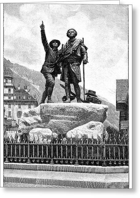 Mont Blanc First Ascent Monument Greeting Card by Science Photo Library