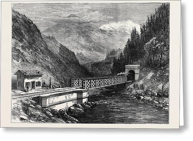 Mont Cenis Railway Scenery The Dora Valley Near Salbertrand Greeting Card by English School